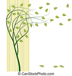 Abstract vector summer wind tree design.