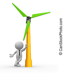 Wind turbine - 3d people - man, person with a wind turbine....