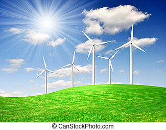 wind turbine against the blue sky