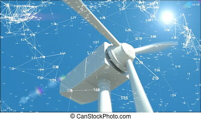 Digital animation of a white wind turbine with blades moving while asymmetrical lines with numbers move in the screen