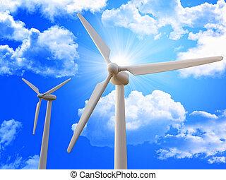 wind turbine and blue sky 3d image background