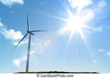 Wind turbine and bright sunlight