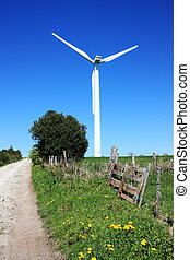 Wind Turbine and Country Lane