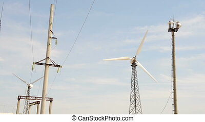 Wind turbine and power line tower