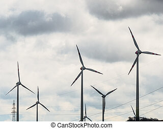 wind turbine and power poles