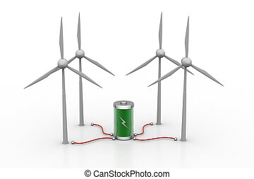 Wind turbine and re chargeable cell