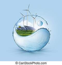Wind turbine and solar cell grows in the field - Windmill...