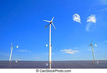 Wind turbine and  solar energy panels