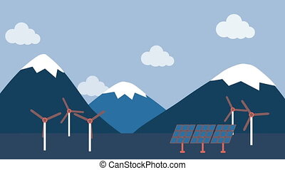 Wind turbine and solar panel in countryside - Illustration...