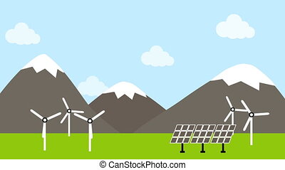 Wind turbine and solar panel in countryside - Illustration ...