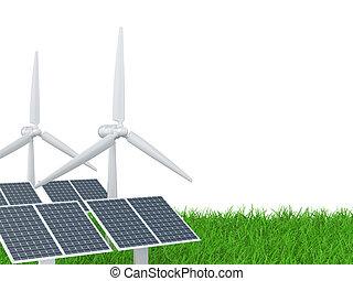 wind turbine and solar panel on a grass field