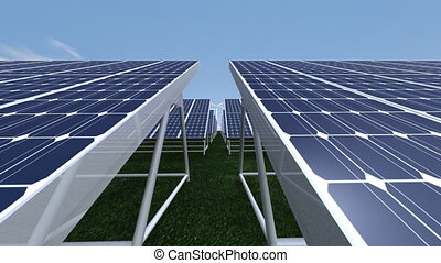 Wind turbine and solar panels - Animation showing wind ...