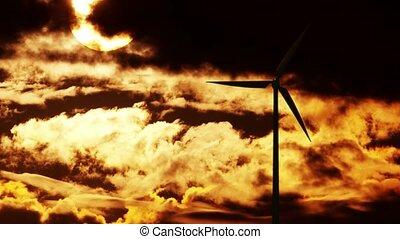 Wind Turbine at sunrise 4K