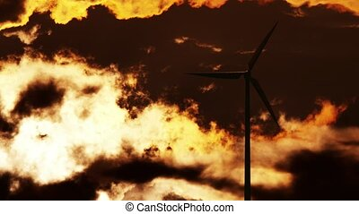 Wind Turbine at sunrise 4K - Wind Turbine at sunrise. 4K 3d...