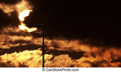 Wind Turbine at sunrise 4K