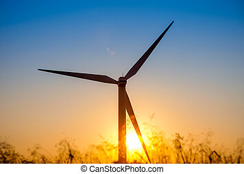 Wind turbine at sunset, Crete, Greece