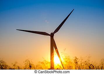 Wind turbine at sunset, Crete, Greece