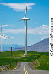 Wind turbine at the end of a highway in Oregon