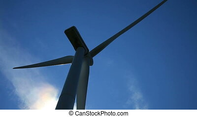 Wind Turbine Back lit and close-up