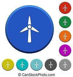 Wind turbine beveled buttons