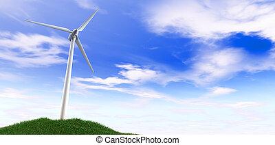 Wind Turbine Blue Sky And Grass Hill
