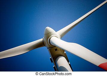 wind turbine closeup - closeup of a wind turbine against the...