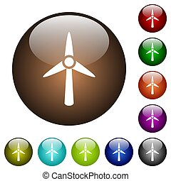 Wind turbine color glass buttons