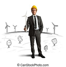 Wind turbine energy project - Businessman thinks about wind...