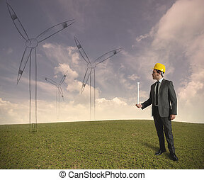 Wind turbine energy project - Concept of businessman that ...