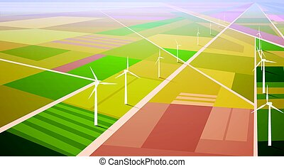 Wind Turbine Energy Renewable Station Field Background