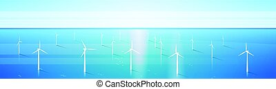 Wind Turbine Energy Renewable Water Station Sea Background...