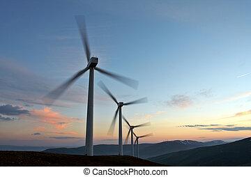 Wind turbine farm turning (movement sensation)
