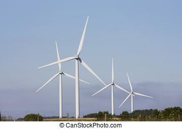 Wind turbine farm, UK. - Wind turbine farm in rural Britain,...