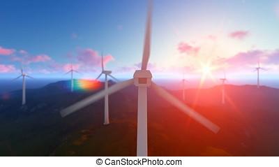 Wind turbine farm with rays of light at sunrise