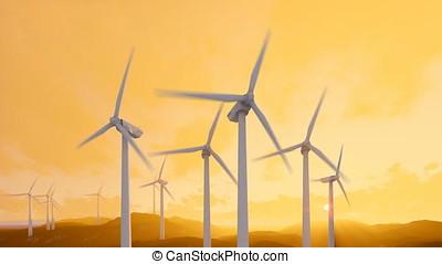 Wind turbine farm with rays of light, morning mist