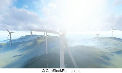 Wind turbine farm with rays of light over cloudy sky