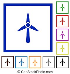 Wind turbine flat framed icons