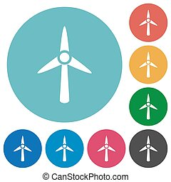 Wind turbine flat round icons