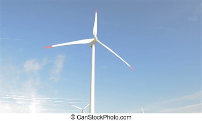 wind turbine generating electricity on blue sky
