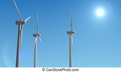 Wind Turbine Generator 3d render loop animation. Full HD