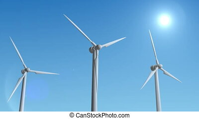 Wind Turbine Generator 3d render loop animation