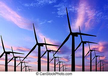 wind turbine generator with twilight sky on background