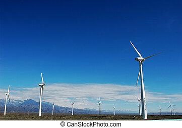 Wind turbine generators in sinkiang,china,with blue skies...