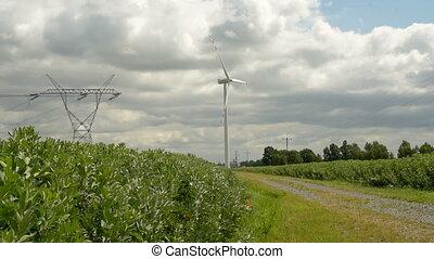 Wind Turbine Green Energy - Windmills Energy. Landscape with...