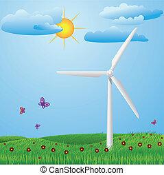 Wind turbine - Green meadow with red flowers, butterflies...