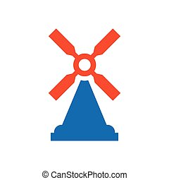 wind turbine icon design blue and orange