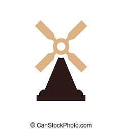 wind turbine icon design brown color