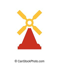 wind turbine icon design yellow and red color