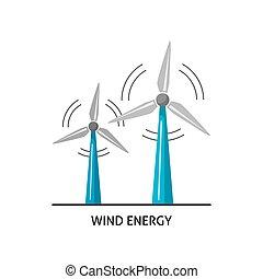 Wind turbine icon in flat style