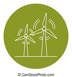 Wind turbine icon in thin line style. Rotating windmill...